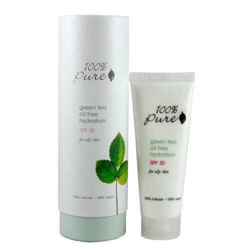 100% Pure: Green Tea Oil Free Hydration Spf 30, 1.6 oz Lightweight All Natural, Organic Formula with Protection Against UVA and UVB Rays, Skin Cancer, Fine Lines, Wrinkles and Aging.