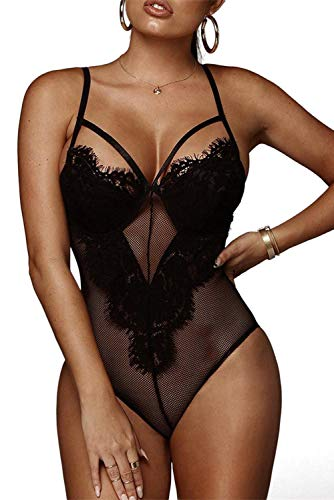 Women Sexy Teddy Lingeries Strappy Sheer Eyelash Lace Bodysuits Rompers Black 10 12