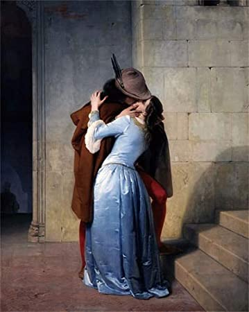 Inch : 16x20cm No Framed The Kiss by Hayez Poster Prints Art Canvas Oil Painting Decoration Picture for The House Living Room Bedroom Home Wall Art - Size