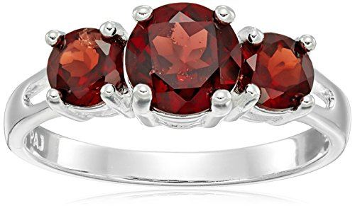 Sterling Silver Three Stone Garnet Ring, Size 5 (Garnet Three Stone Ring)