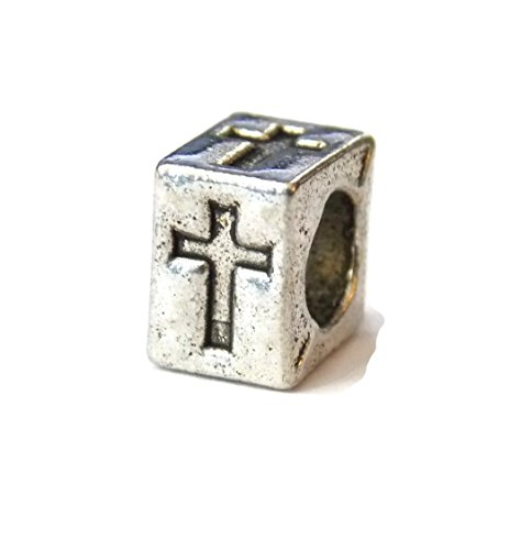 10 Pack of Cross Cube Big Hole Beads for European Charm Bracelets - Old School Geekery TM Brand -