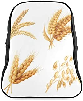 Agriculture Crops Rice Wheat Woman School Bag College Backpack Schools Bags Print Zipper Students Unisex Adult Teens Gift