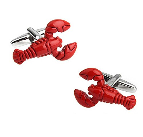 Hosaire Men's Cufflinks Novelity Red lobster Cuff Link Fashion Cuff-link as Gift ()