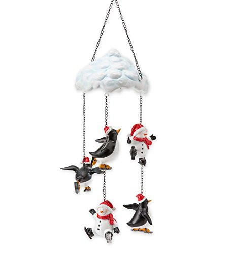 Indoor Outdoor Skating Snowmen and Penguins Hanging Mobile Holiday Decor 7.75 dia. x 20.5 (Holiday Hanging Mobile)