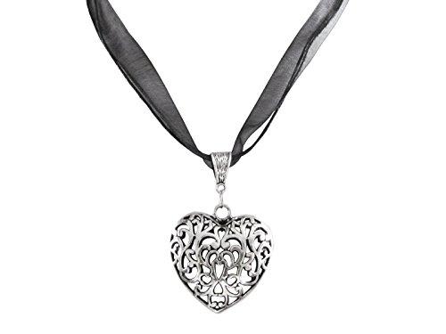 Trachtenschmuck Oktoberfest Wiesn Kette Halskette Trachtenkette Ladinelle Damen Schmuck Halskette 45cm + 5cm Verlängerung Herz Anhänger 5,3cm x 3,3cm