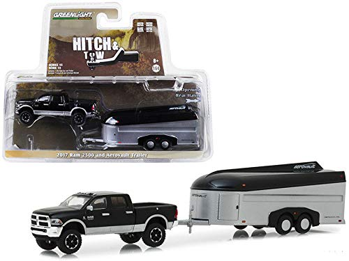 - Greenlight 32150-B 2017 Dodge Ram 2500 4x4 Pickup TrucBlacwith Silver Aerovault Trailer Hitch & Tow Series 15 1/64 Diecast Models 32150 B, Black
