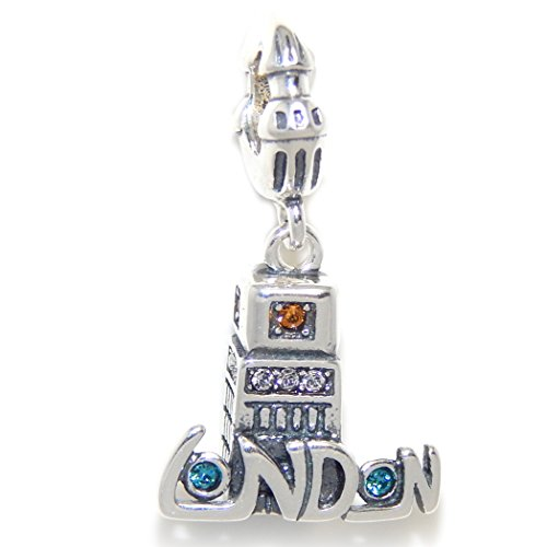 Pro Jewelry 925 Solid Sterling Silver Dangling 'London' Tower with Multi-colored Crystals Charm Bead