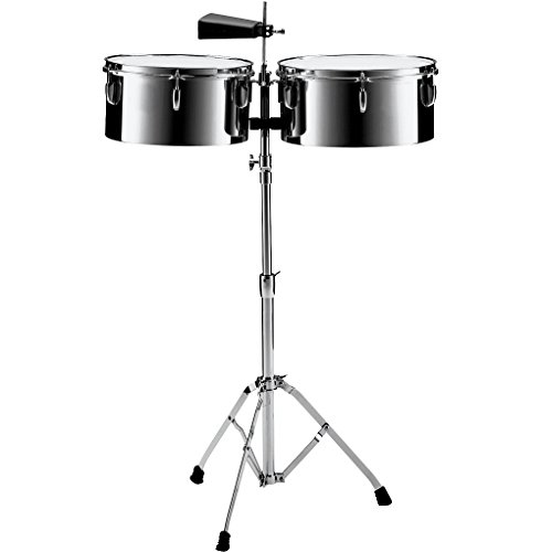 Pearl PTS5134 13 in. and 14 in. Steel Timbales with Cowbell and Stand by Pearl