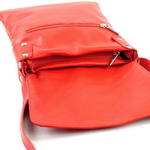 Made Italy - Bolso cruzados para mujer rojo claro