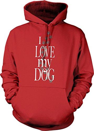 I Love My Dog Hooded Sweatshirt, NOFO Clothing Co. XXL Red