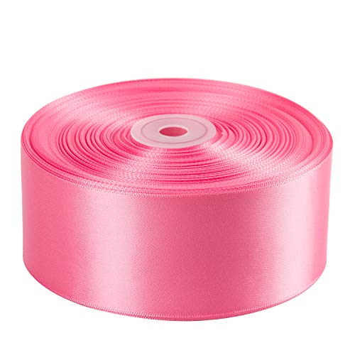 LaRibbons 50 Yards 2 inch Double Face Satin Ribbon for Craft, Gift Wrapping, Hair Bow, Wedding Deco - 153 Sherbet ()