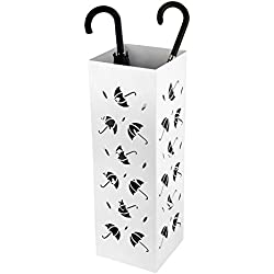 Amzdeal Umbrella Stand Umbrella Holder Rack for Indoor Home Office Entryway Decor with Drip Tray and 2 Hooks, Metal Modern Design, 22 inch Tall (Umbrella Pattern, White)