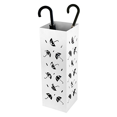 Amzdeal Umbrella Stand Umbrella Holder Rack for Indoor Home Office Entryway Decor with Drip Tray and 2 Hooks, Metal Modern Design, 22 inch Tall (Umbrella Pattern, White) by Amzdeal