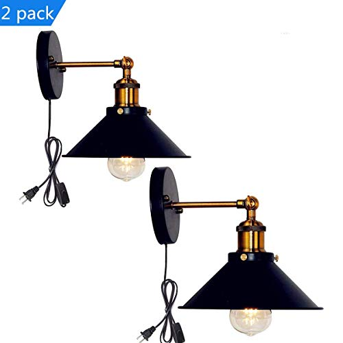 (Retro Wall Sconces Light Wall Lamp Plug in Cord with On Off Switch E26 Base Black Wall Industrial Vintage Edison Lamp Fixture Steel Finished for Indoors Bedroom)