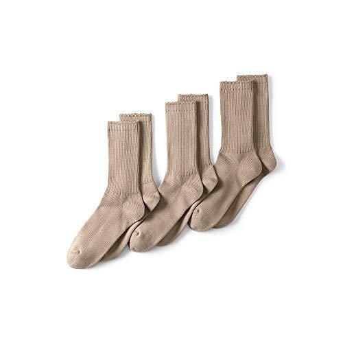 Lands' End Men's Seamless Toe Cotton Crew Socks (3-pack), M, Khaki (Dress Tan Socks)