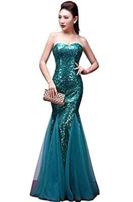 YORFORMALS Women's Strapless Mermaid Sequin Prom Dress Long Formal Evening Gown