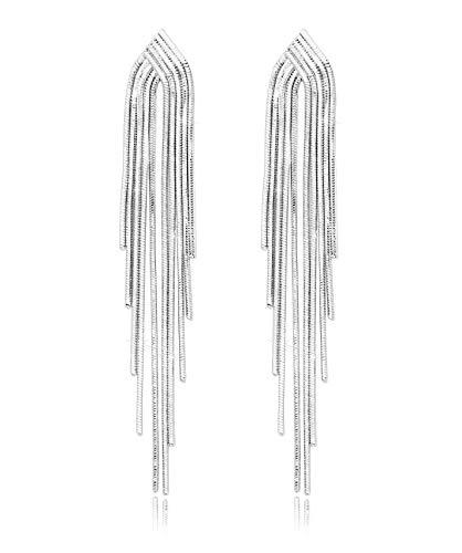 - KristLand - S925 Silver Plated Sleek Chain Tassel Drop Earrings Long Fringe Dangle Simple Style Sleek Chain Silver Color