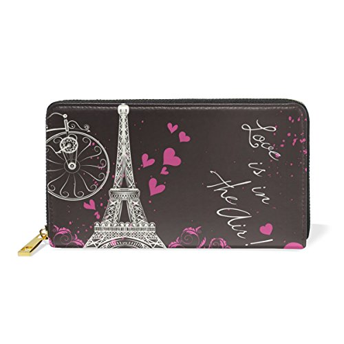 Organizer Around Handbags Womens Valentine's Eifel Flower Zip Pattern 1 Day TIZORAX Tower Clutch Purses Wallet And Paris SqOPxwYRz
