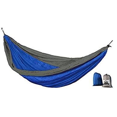 Jumbo Double Hammock In A Bag With Extra-Long Ropes Lightweight & Compact Made Of Durable Parachute Nylon Easy Set-Up For Camping, Hiking Or At-Home Relaxation(Gray/Blue)