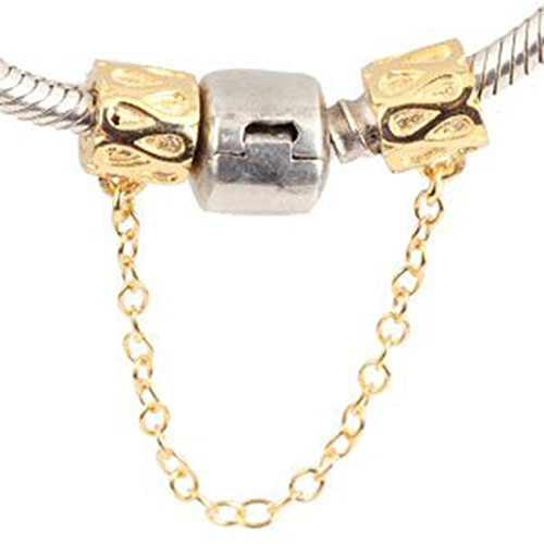 Chain Charm with Gold Plated 925 Sterling Silver Clasp Safety Clip Stopper Charm Spacer Charm for Pandoar Bracelet (Christmas Charm Gold Plated)