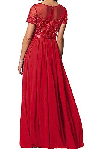 Festlichkleider Spitze Charmant Himmel Damen mit Langes Abendkleider Brautmutterkleider Blau Kurzarm Ballkleider rEAYxAwqf