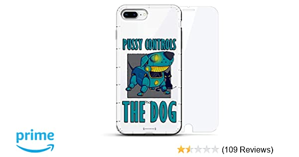 Pussy Controls the Dog | Luxendary Air Series 360 Bundle: Clear Silicone Case with 3D printed design and Air-Pocket Cushion Bumper + Tempered Glass ...