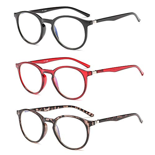 - SUERTREE Anti Blue Reading Glasses Spring Hinge Yellow Tint Computer Glasses Women Men Fashion Eyewear (Pack of 3) JH250