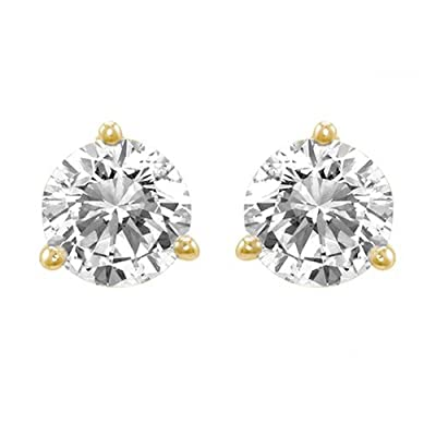 2/3 Carat Solitaire Diamond Stud Earrings Round Brilliant Shape 3 Prong Screw Back (G-H Color, SI2-I1 Clarity) from Houston Diamond District