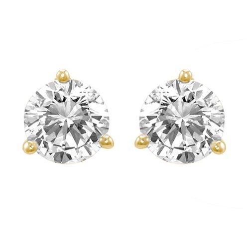 1 Carat Ideal Cut Diamond Stud Earrings 18K Yellow Gold Round Brilliant Shape 3 Prong Screw Back (I-J Color, VS1-VS2 - Diamond Cut Ideal