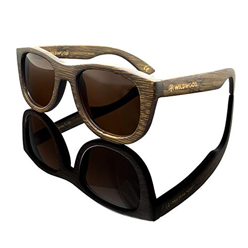 Youth Kids Bamboo Wood Sunglasses for Boys and Girls with Polarized Lenses | 5 to 12 years (Dark Bamboo, ()