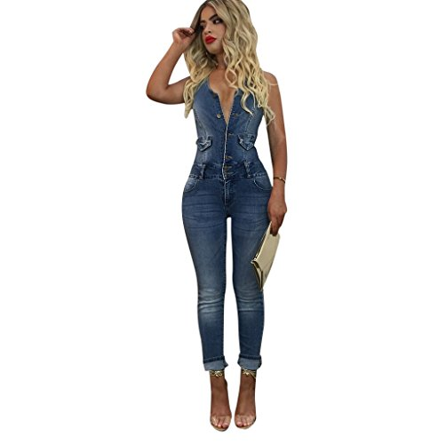 Women Denim Sleeveless Clubwear Bodycon Long Pants Jumpsuit Romper