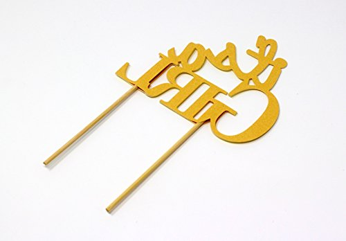 All About Details CATIAGIGPY Girl Cake Topper (Glitter Pastel Yellow), 6in wide and 5in tall with 2-pcs of 4in wood skewers by All About Details (Image #3)
