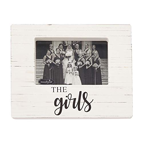 Mud Pie 4693019 The The Girls Wooden Block Frame, One Size, White