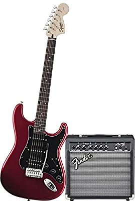 Squier by Fender Affinity Strat Electric Guitar Pack with Fender Frontman 10G - Black from Fender Musical Instruments Corp.