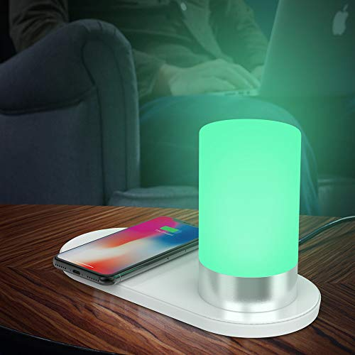 - FARAZ LED Lamp-Night Light with QI Wireless Phone Charger & USB Port-House/Bedroom Décor LED Lamp-Multiple Color and Light Intensity Modes-Power Saving Adapter with Fast Charge