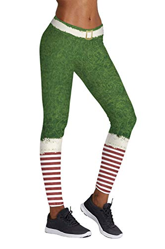 Pink Queen Christmas Santa Elf Leggings Tights Green,US S-M,Christmas Pattern 8