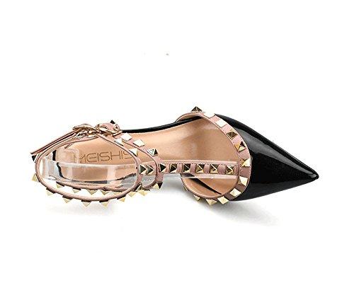 6cm Kiiltonahkaa Sandaalit Niitit Musta Naisten Korkokengät Ccbubble ZApxqYZ