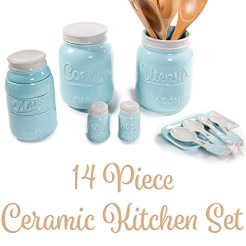 Mason Jar Kitchen Utensil Set - Includes Cookie Jar, Utensil Holder, Measuring Cups, Spoon Rest, Measuring Spoons & Salt/Pepper Shakers (Blue) (Spoons Collection Measuring Kitchen)
