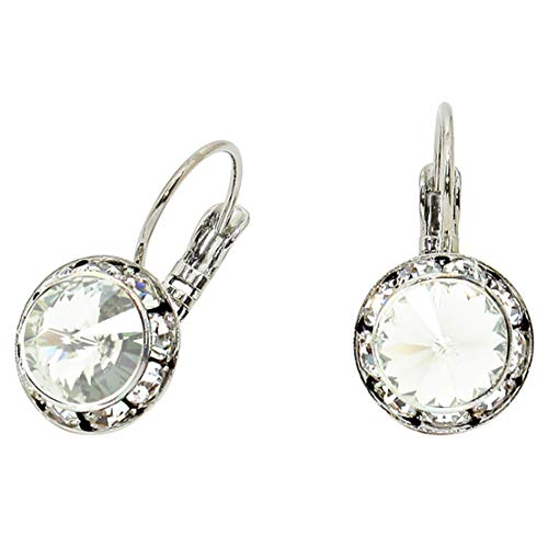 Rosemarie Collections Women's Genuine Austrian Crystal Leverback Drop Earrings (Clear Crystal)