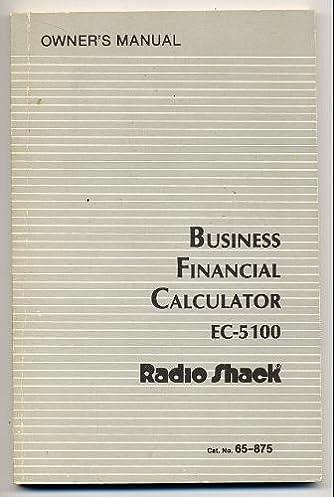 business financial calculator ec 5100 owner s manual elbert b rh amazon com Repair Manuals Corvette Owners Manual