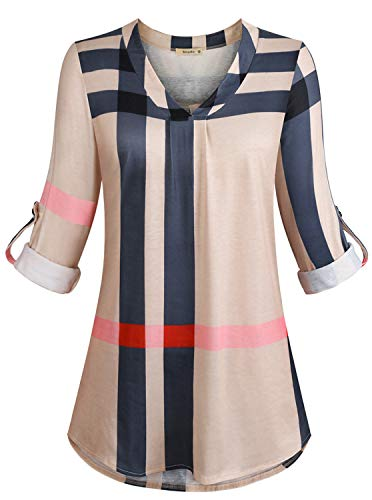 3/4 Sleeve Blouse Women, Ladies Roll Up Long Sleeve Shirt V Neck Loose Plaid Work Office Tunic Top Trendy Classic Designer Clothing Beige XX-Large