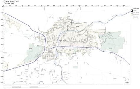 Great Falls Mt Zip Code Map Amazon.com: ZIP Code Wall Map of Great Falls, MT ZIP Code Map