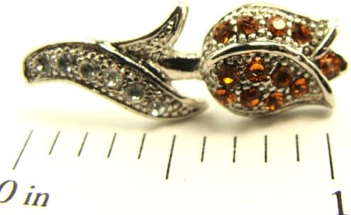 Silver Tone Sparkling Crystal Tulip Flower Tie Tack Hat Lapel Pin