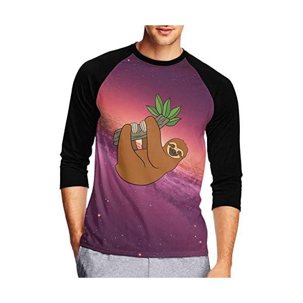 Sloth Lying On Tree Men'S Crew Neck Raglan 3/4 Sleeve Baseball T Shirt -