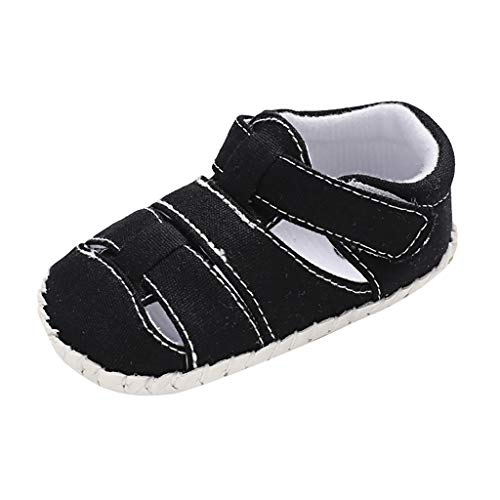 LONGDAY Baby Flats Infant Boys Girls Soft Sole Leather Sandal Anti Slip First Walk Comfy Casual Slip On Close Toe Shoe Black ()
