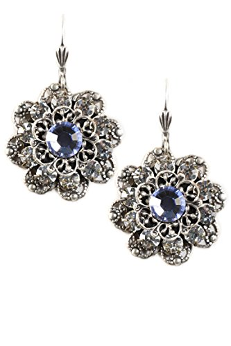 Clara Beau Blue Swarovski Glass Crystal Cluster Silvertone Earrings EAM130]()