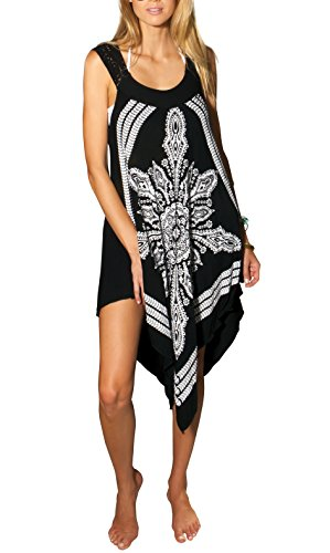 Ingear Crochet Casual Dress Embroidery Summer Beach Handkerchief Dress (Small/Medium, Black)