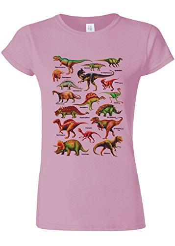 想定チョーク鰐Dinosaurs Names Kinds Funny Novelty Light Pink Women T Shirt Top-L