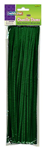 Creativity Street Chenille Stems/Pipe Cleaners 12 Inch x 4mm 100-Piece, Green ()