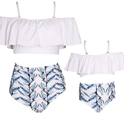 Women Swimsuit Girls High Waist Bathing Suits Matching Family Two Pieces Bikini Set Swimwear Size 5-6 Years